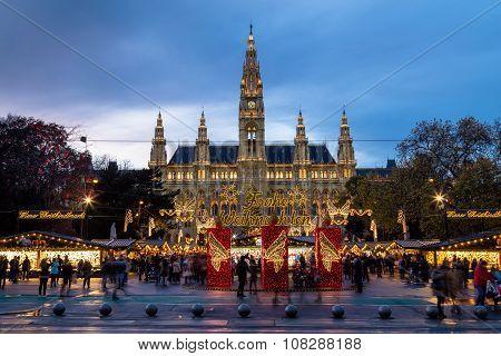 Christmas Market At Rathaus (vienna City Hall)