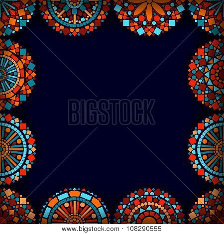 Colorful circle flower mandalas frame in blue red and orange, vector