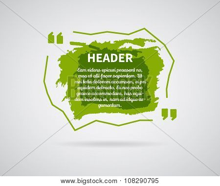 Quote blank templates. Watercolor, ink, splash Quote bubble. Empty template. Abstract business card