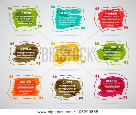 Watercolor, ink, splash Quote blank templates. Quote bubbles. Empty template. Circle business card t