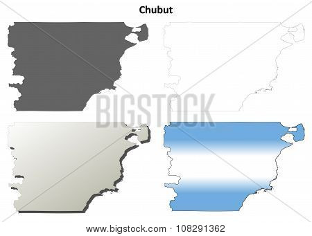 Chubut blank outline map set