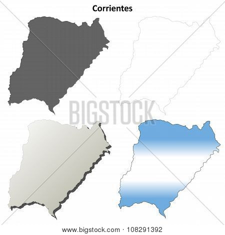 Corrientes blank outline map set