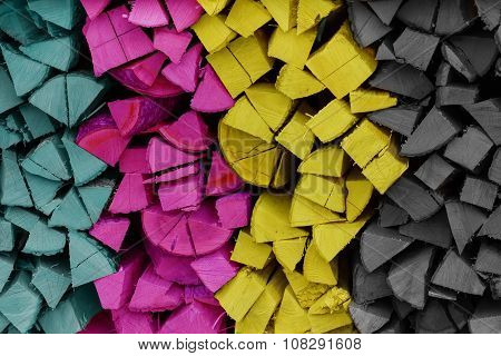 Colorful Cmyk Stack Of Wood