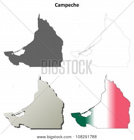 Campeche blank outline map set