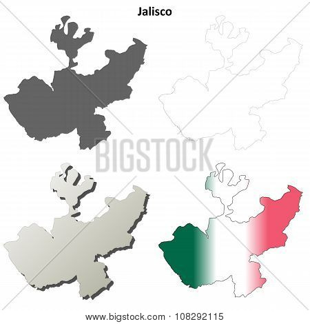 Jalisco blank outline map set