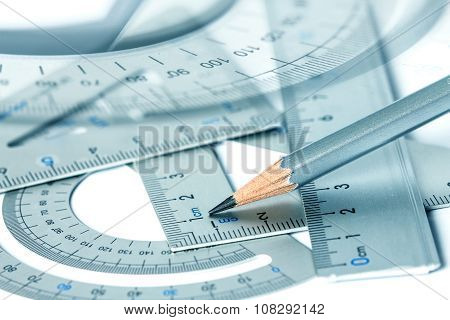 Selective Focus Of Pencil With Precision Measurement Tool