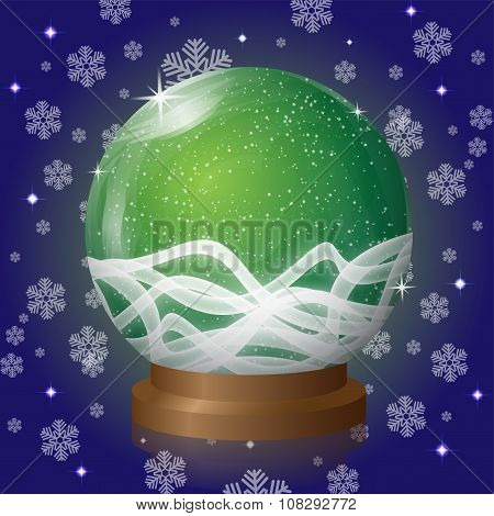 Green Empty Snow Globe With Blizzard Retro Design