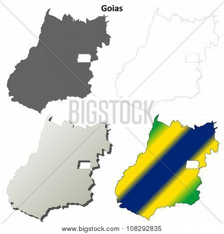 Goias blank outline map set