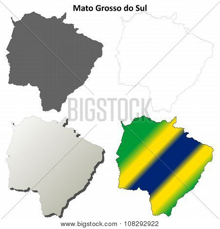 Mato Grosso do Sul blank outline map set