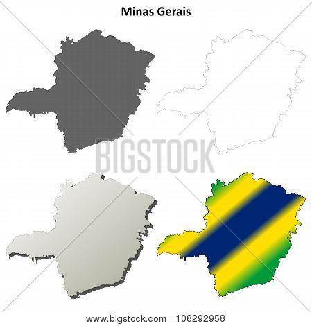 Minas Gerais blank outline map set
