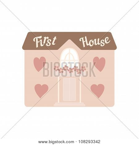 Pink wedding house for newlyweds with windows hearts