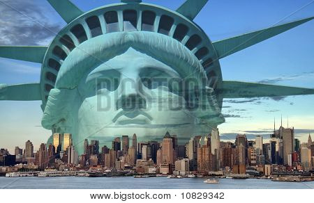 New York City Skyline With Statue Liberty