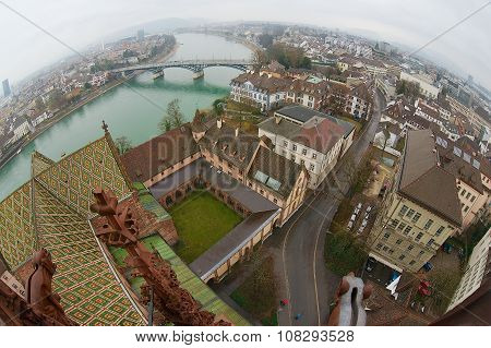 Wide angle aerial view to Basel city from Munster tower on a rainy day in Basel, Switzerland.