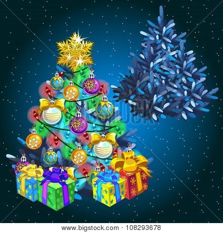 Decorated Christmas tree with gifts before the holiday and after