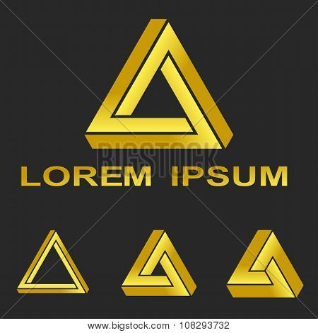 Golden Penrose triangle technology symbol set