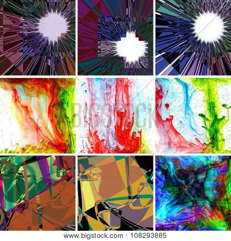 Image of different abstract backgrounds closeup
