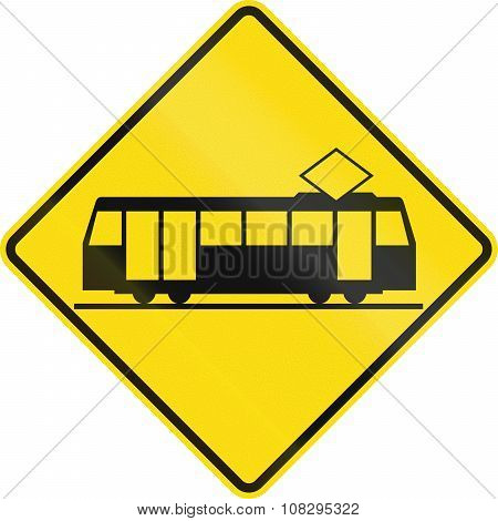 New Zealand Road Sign - Crossing For Light Rail