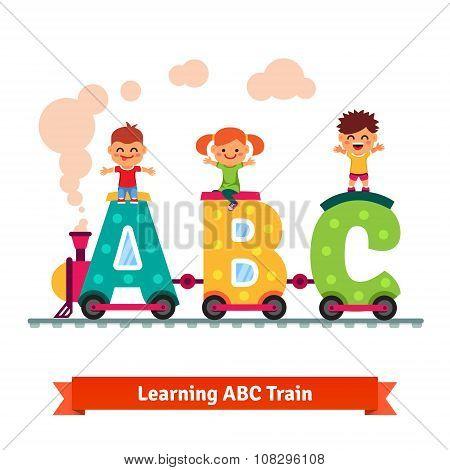Children learning alphabet concept