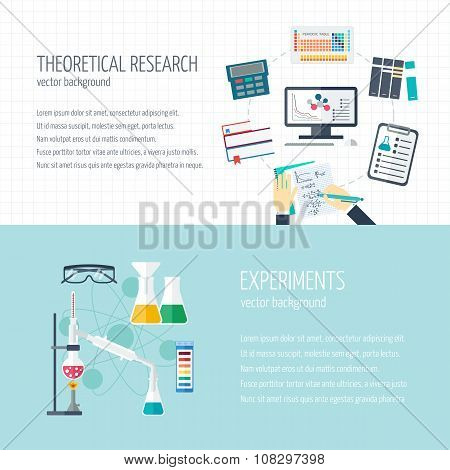 Vector Concept Of Research And The Chemical Industry. Horizontal Banners Of Theoretical Research And