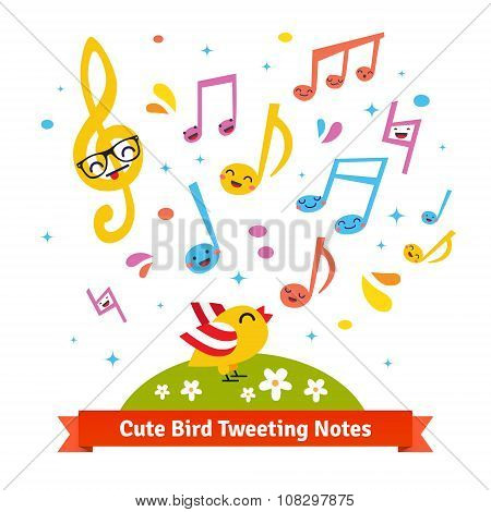 Bird tweeting and singing cartoon musical notes