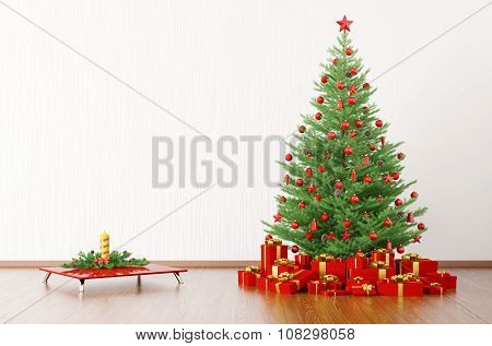 Interior Of A Room With Christmas Tree 3D Render