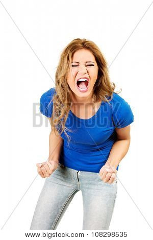 Young beautiful frustrated angry woman.