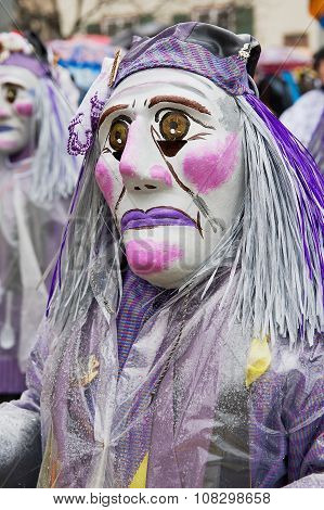 People take part in Basel Carnival in Basel, Switzerland.