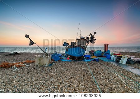Beautiful Sunrise Over A Fishing Boat