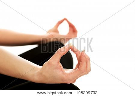 Female hands in ohm yoga pose