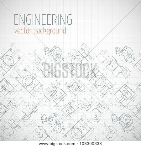 Poster, Cover, Banner, Background With Technical Drawing Of Parts. Notebook Sheet. Vector