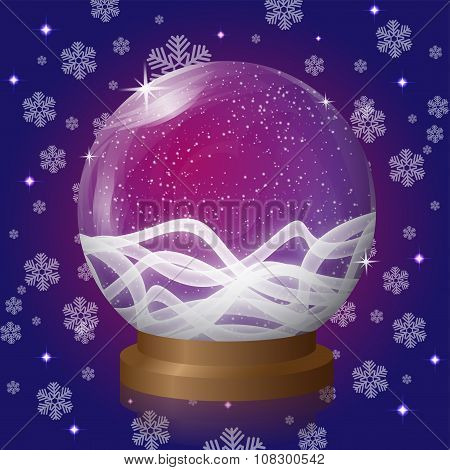 Violet Empty Snow Globe With Blizzard Retro Design