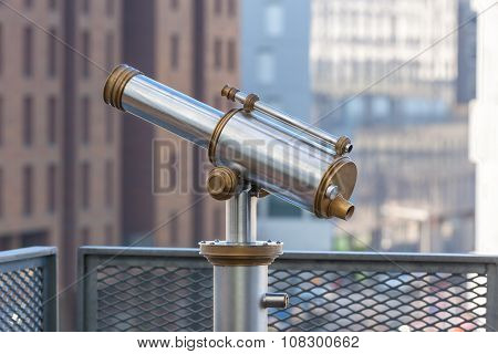Telescope Overlooking For City Streets From Above