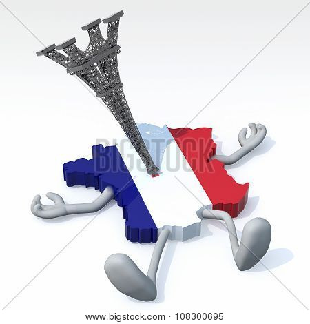 Map Of France With Tower Impaled