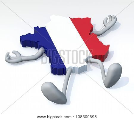 Map Of France With Arms And Legs Lying Down