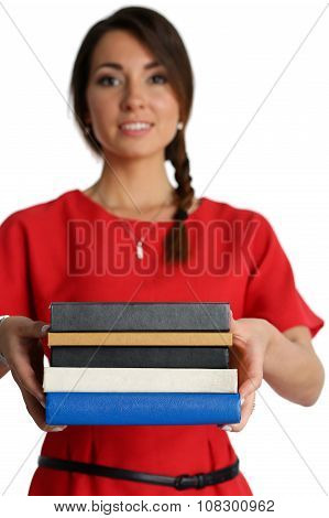 Female Student With Textbooks