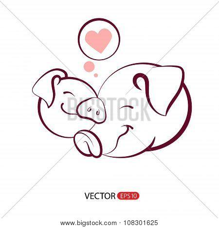 Vector Pig symbol