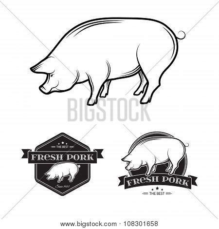 Vector Pork labels
