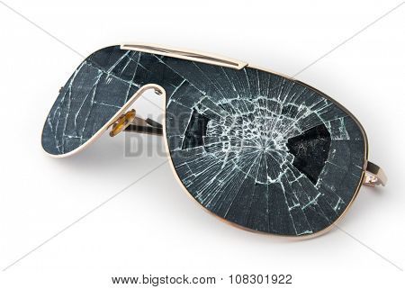 Black broken sunglasses isolated on white background