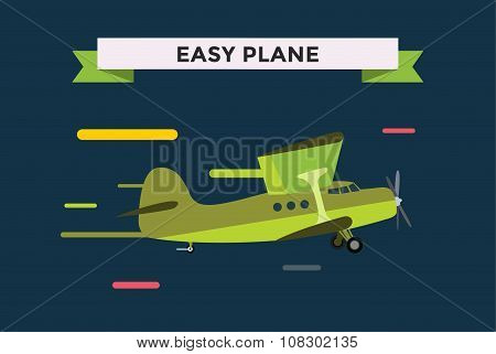 Civil aviation travel small easy passenger air plane vector illustration
