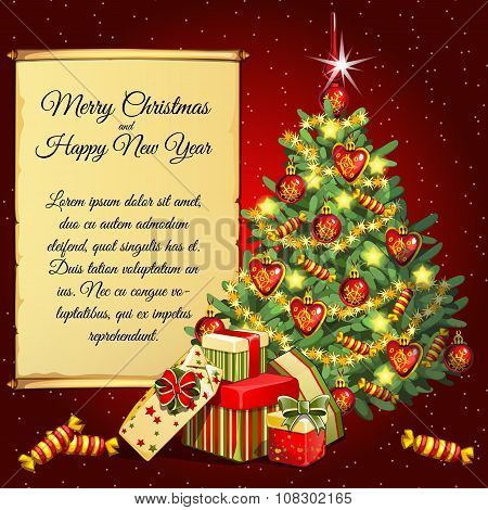 Holiday card with Christmas tree and gifts and scroll for your text