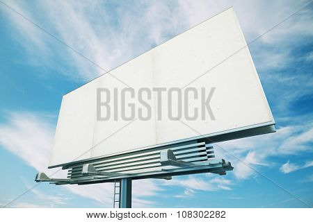 Blank White Billboard On A Background Of Blue Sky, Mock Up