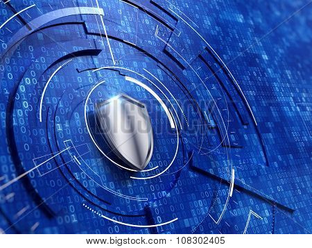 Security concept - shield on digital code background