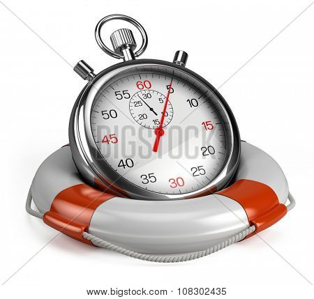 Stopwatch and lifebuoy on white background