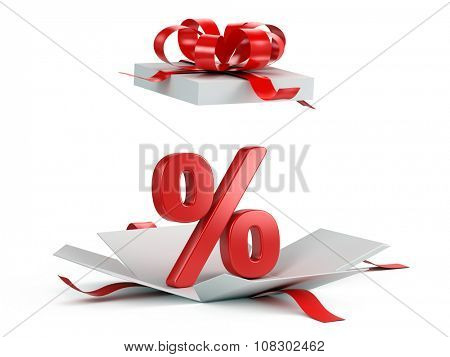 Open gift box with red percent on white background