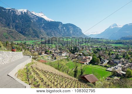 View to the town Bex (canton Vaud) in Bex, Switzerland.