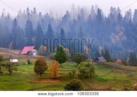 Old Wooden Hut Cabin In Mountain At Rural Fall Landscape
