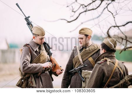 Unidentified re-enactors dressed as Russian Soviet soldiers in c