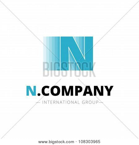 Vector creative abstract N letter minimalistic dynamic logo