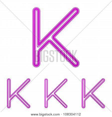Magenta line k logo design set