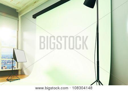 Interior Empty Sunny Photo Studio With Copyspace